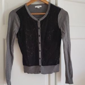 New York & Co Gray w/ Black Lace Detail Cardigan